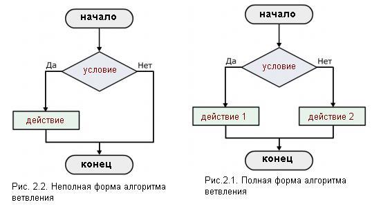 форма алгоритма ветвления